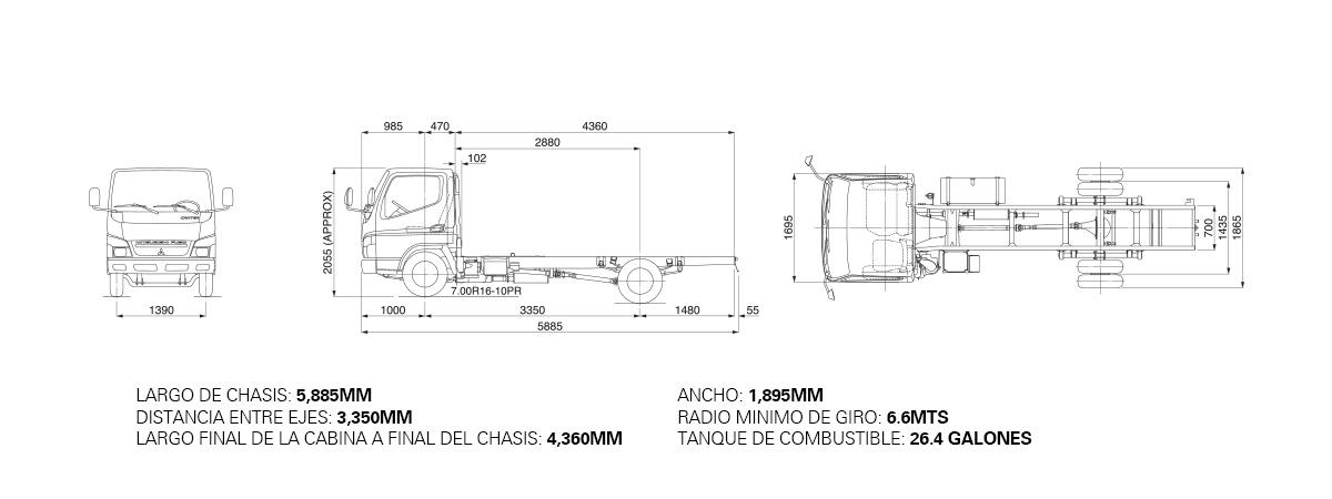 Dimensiones CANTER FE73 – 3.7 TON