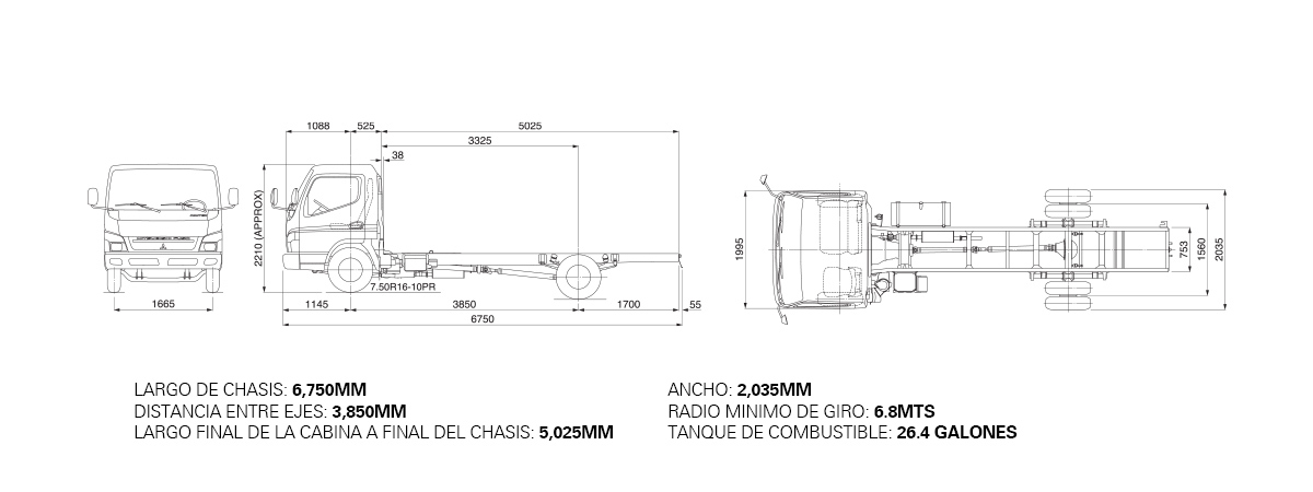 Dimensiones CANTER FE85 – 5.5 TON