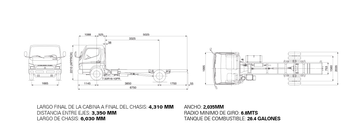 Dimensiones CANTER FE85 TURBO – 5.5 TON