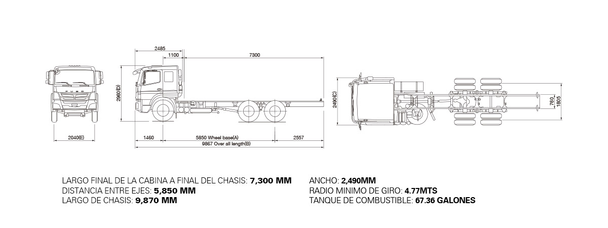 Dimensiones FUSO FJ – 18 TON